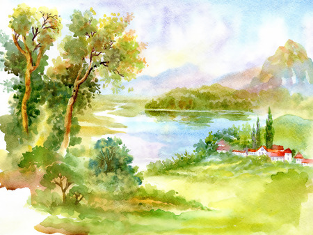 lake house: Watercolor river nature landscape Stock Photo