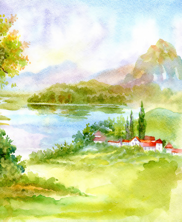 Watercolor river nature landscape 版權商用圖片