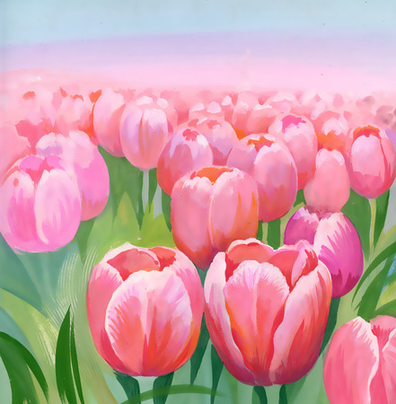Watercolor tulips field Vector