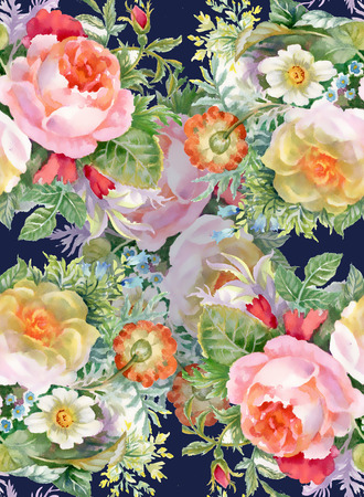 Floral colorful spring flowers seamless pattern on black background