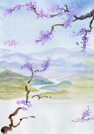 Kersenbloesem Chinese schilderkunst Stockfoto