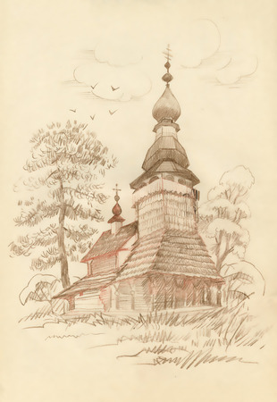 cupola: Hand drawn old wooden church Illustration