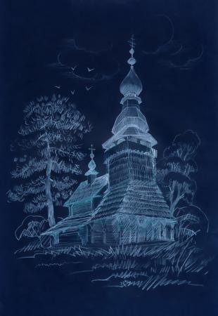old church: Hand drawn old wooden church Illustration