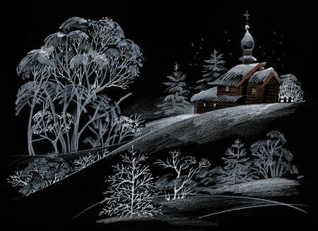 yellow hills: Hand drawn landscape with old wooden church on the hill with trees