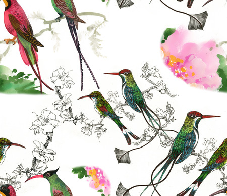 tweeting: Birds on branch seamless pattern on white background Stock Photo