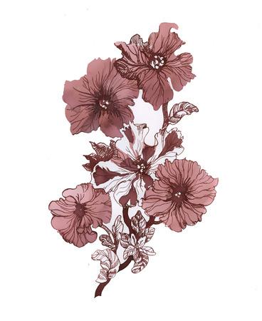 Rode bloemen. illustraties Stock Illustratie