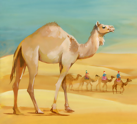Watercolor camel in desert