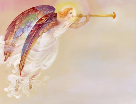 religion catolica: Hermoso �ngel con las alas en fondo marr�n