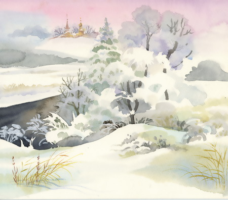 Watercolor winter forest with trees Vettoriali