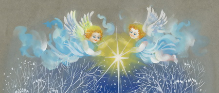 eden: Merry Christmas card with angels Illustration