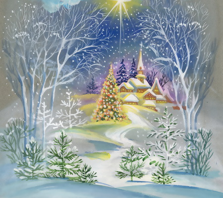 christmas watercolor: Watercolor winter landscape Stock Photo