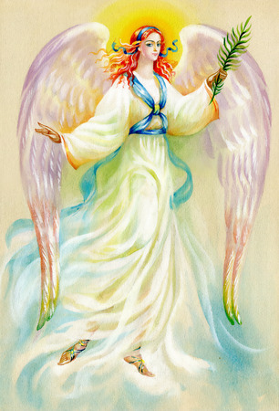 Beautiful angel with wings on white background