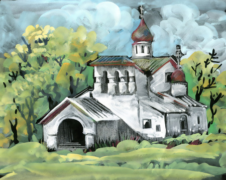 Watercolor Painting. Orthodox Church