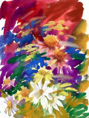 champ de fleurs: fleurs des champs Aquarelle bouquet