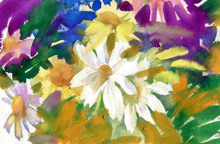 Fiori di campo Acquerello bouquet Archivio Fotografico - 37676580
