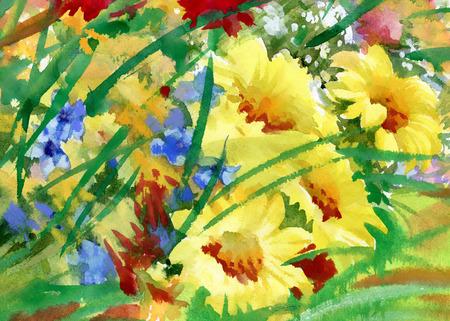 Fiori di campo Acquerello bouquet Archivio Fotografico - 37676591