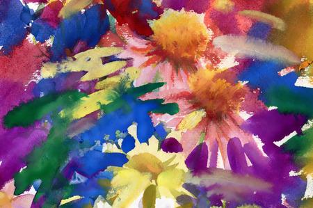 field of flowers: Watercolor field flowers bouquet Illustration