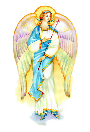 caritas pintadas: Hermoso ángel con las alas en el fondo blanco