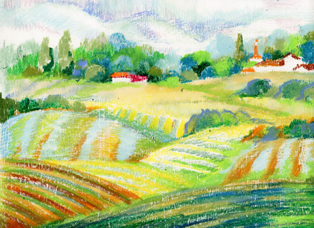 Hand painted pastel countryside landscape