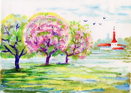 Hand drawn flowers and tree Vettoriali