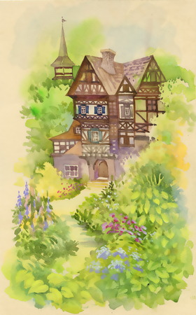 Watercolor rural landscape with house and tower 일러스트