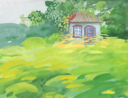 Watercolor rural house in green landscape Vettoriali
