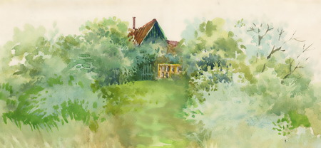 rural house: Watercolor rural house in green landscape Illustration