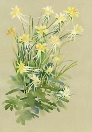 beige background: Watercolor flowers on beige background