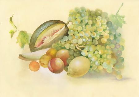 vine pear: Watercolor melon vine peach and lemon in a still life Stock Photo
