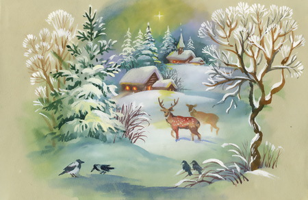 winter wonderland: Watercolor winter landscape with deers