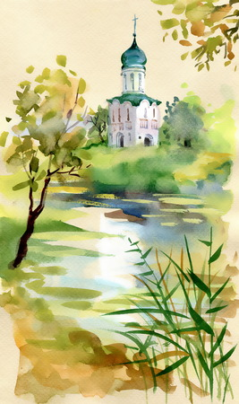 old church: Old church watercolor