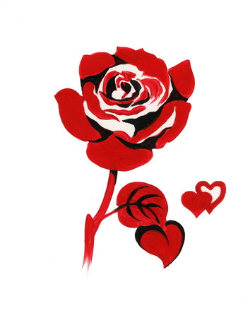 Handdrawn red rose in sketch-style, isolated on white background