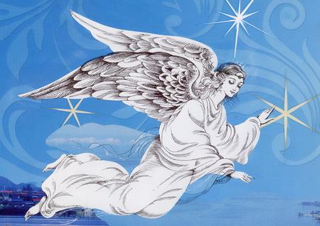 bonito: Hermoso ángel con alas Foto de archivo