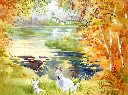 Landscape with goats, watercolor illustration Vettoriali