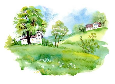 пейзаж: Пейзаж с домами, акварель иллюстрации Иллюстрация
