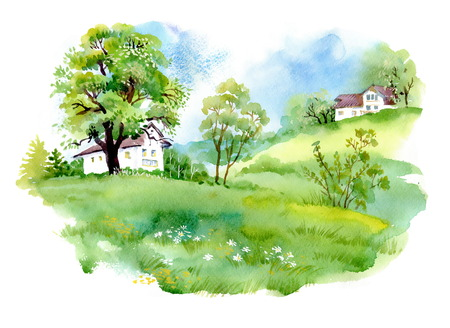 garden landscape: Landscape with houses, watercolor illustration