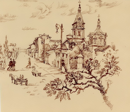 Sketch of old citylife and church engraving style on old paper grunge background