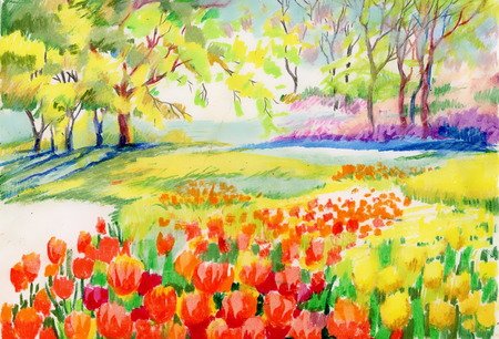 Hand drawn of beautiful tulips in the park