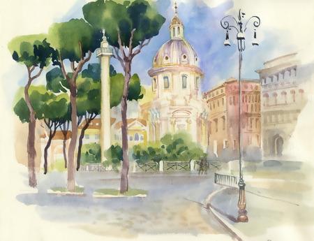 Watercolor street in town Vettoriali