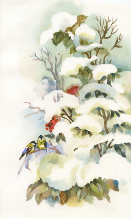 snowy: Titmouses on the snowy branch