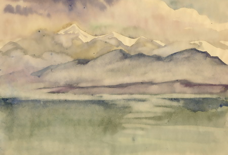 reflexion: Watercolor river and mountains nature landscape
