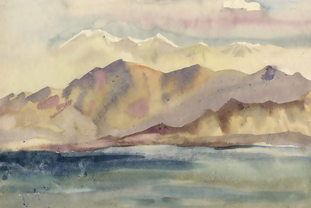 morning walk: Watercolor river and mountains nature landscape