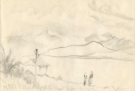 Sketch of Summer mountains landscape Stock Photo