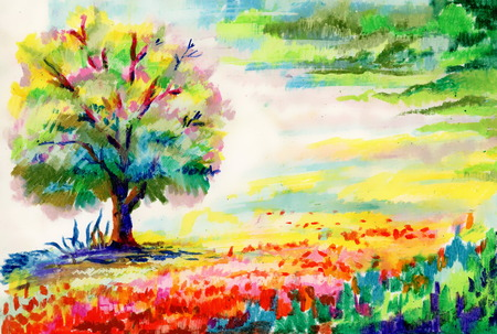 Hand drawn flowers and tree photo