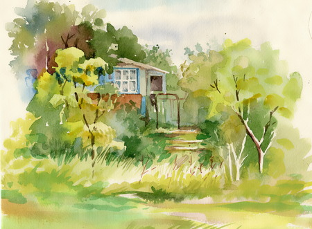 Watercolor painting of cabin in woods