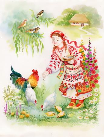 Ukrainian girl feeding chickens