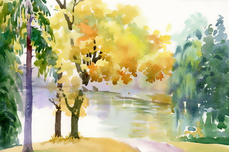 Autumn forest and lake Illustration