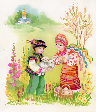 admiring: Boy and girl admiring gray rabbit Stock Photo