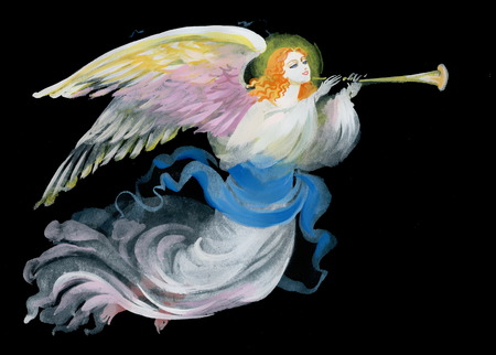 orthodoxy: Lovely angel on a black background Stock Photo