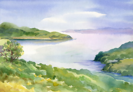 Watercolor river nature landscape Stock Illustratie